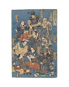 Kuniyoshi Utagawa, Suikoden, Water Margin, Edo Art, Tattoo Design, Original Japanese woodblock print