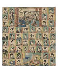 toyokuni III utagawa, sugoroku, japanese board game