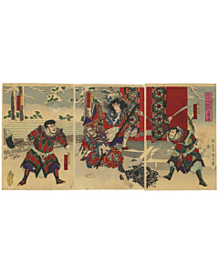 Kunichika Toyohara, Suikoden, Tatoo design, Winter, Japanese woodblock print, antique