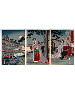 japanese woodblock print, japanese antique, meiji period, japanese emperor, modern fashion