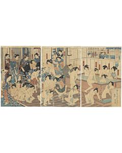 japanese woodblock print, japanese antique, bath house, kunichika