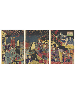 Yoshiiku Utagawa, Summer Party at Ryogoku, Fireworks