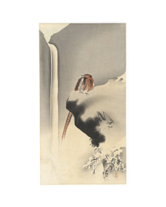 koson ohara, pheasant on rock with waterfall