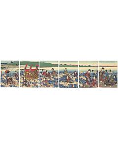 Yoshitora Utagawa, Prince Genji Crossing the Oi River, Tale of Genji