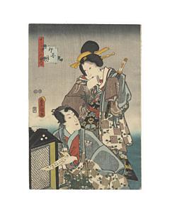 toyokuni III utagawa, genji, edo era, kimono pattern