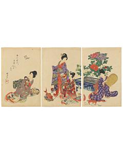 chikanobu yoshu, kimono design, beauty print