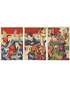 kunisada III utagawa, kabuki play, soga brothers