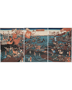 kuniyoshi utagawa, The Great Battle of Yashima, warrior, genpei war, samurai