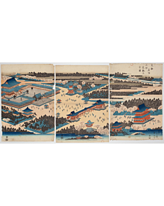 Hiroshige Ando, View of the To'eizan Temple in Ueno, Famous Places of the Eastern Capital
