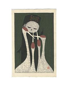 kaoru kawano, Girl and Four Cranes, sosaku hanga