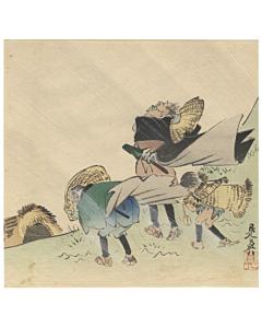Zeshin Shibata, Three Travelers, Wind, Meiji, Ukiyoe, Landscape, Original Japanese woodblock print