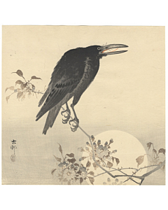 koson ohara, crow and moon, bird and flower