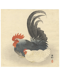 koson ohara, rooster and hen, bird print