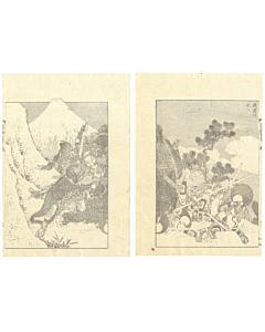 hokusai katsushika, mount fuji, warriors, samurai