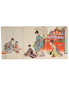 chikanobu yoshu, hina matsuri, girls' day