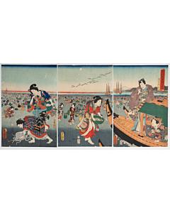 toyokuni III utagawa, clam digging, tale of genji