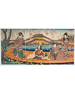 Yoshitora Utagawa, Boat Trip in Spring, Cherry Blossoms