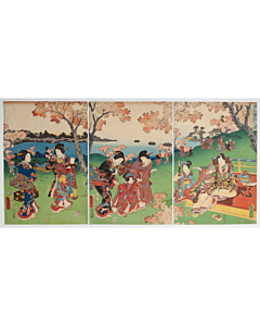 toyokuni III utagawa, spring, arashiyama, kyoto