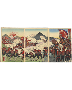Kuniteru III Utagawa,  Japan and China Fighting at Asan, War Print