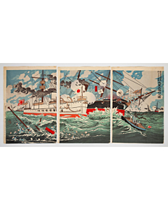Kiyochika Kobayashi, Naval Victory, Japan, Meiji, War, Hoto, Sea, China, Original Japanese woodblock print