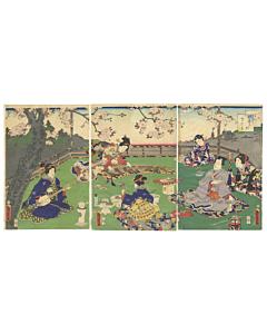 kunisada II utagawa, cherry blossom viewing, sakura, genji