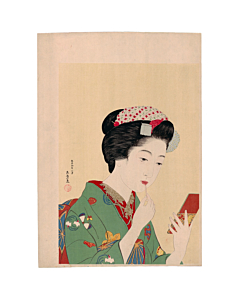 japanese woodblock print, japanese antique, shin-hanga, ukiyo-e, kimono design, make-up, portrait, goyo hashiguchi