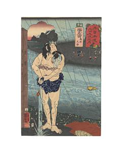 japanese woodblock print, japanese antique, ukiyo-e, kisokaido, kuniyoshi