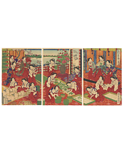 kuniaki ii utagawa, silk making, meiji era