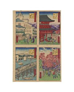 Hiroshige III Utagawa, Kinryuzan, Mukojima, Yoshiwara and Ryogoku Bridge
