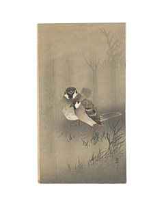 Koson Ohara, Two Sparrows in a Rain Shower
