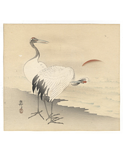koson ohara, a couple of cranes, bird print