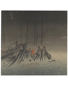 Kogyo Tsukioka, Night Fishing, Sea Landscape