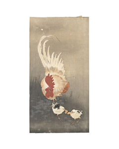 koson ohara, Rooster and Chicks, bird print