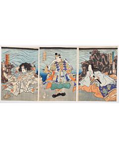 kunisada II utagawa, kabuki, yoshitsune