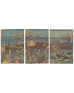 yoshitora utagawa, warrior print, samurai battle