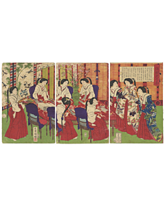 Kuniaki II Utagawa, Empress Making Gifts for Wounded Soldiers, meiji period
