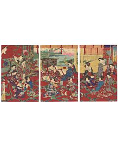 chikanobu yoshu, tale of genji, kimono design
