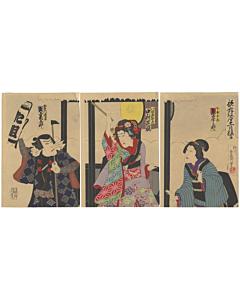 kabuki play, oshichi, fireman, meiji, traditional culture, edo story, japanese design