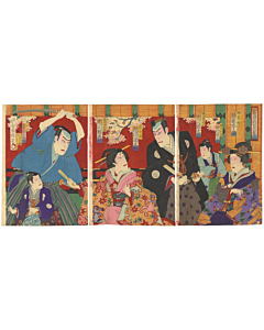 kochoro,utagawa kunisada III, kabuki theatre, actors, kabukiza, japanese actors, japanese design, meiji era