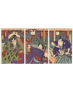 kunichika toyohara, kabuki theatre, japanese actors, momiji, maple leaves, japanese design, meiji