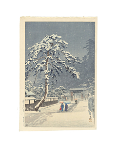 Hasui Kawase, Honmonji Temple, Winter View, shin-hanga, japanese woodblock print