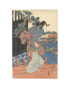 Eisen Keisai, Girl at River Bank, Beauty Print
