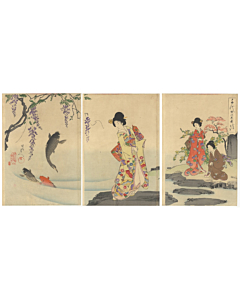 chikanobu yoshu, court ladies, kimono fashion, japanese design, koi fish, japanese carp, wisteria, pond