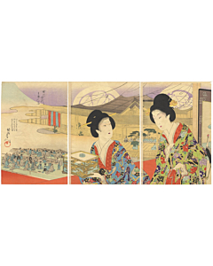 chikanobu yoshu, high-rank ladies, kimono design, theatre, fashion, elegant, beauties, hairstyle, japanese patterns, japanese design