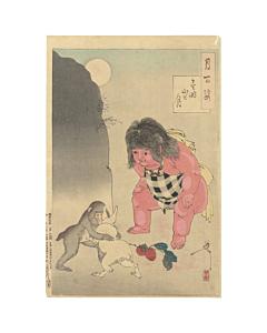 Yoshitoshi Tsukioka, Kintoki's Mountain, One Hundred Aspects of the Moon, Rabbit, Monkey, Legend, Animals, Original Japanese woodblock print