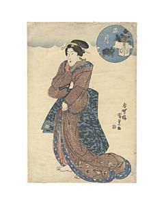 kunisada utagawa, beauty portrait, edo period, kimono fashion, japanese design, japanese pattern
