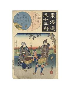 kuniyoshi utagawa, tokaido, travel in japan, landscape, edo period