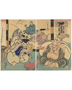 yoshitora utagawa, ebisu, hotei, sake, edo period, seven lucky gods, shichifukujin