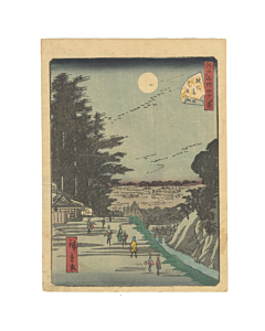 hiroshige II, surugadai, moonlight, japanese woodblock print, japanese antique, ukiyo-e