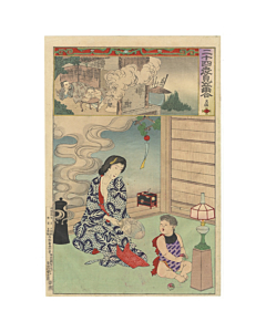 chikanobu, kimono, mother and child, japanese woodblock print